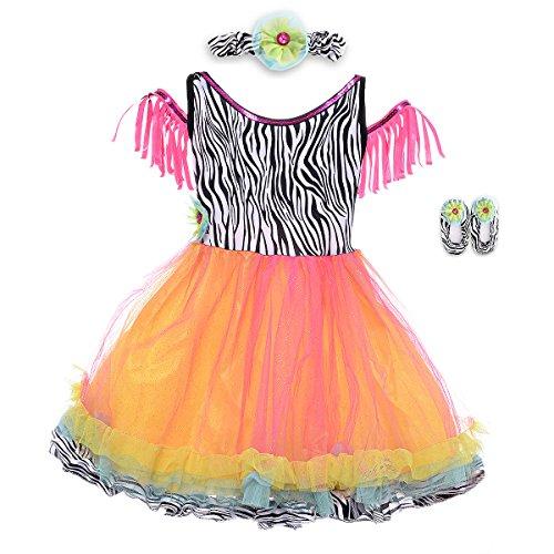 HBB Kids Little Girl's Dress Up Trendy Sassy Princess Dance Tutu with Headband & Shoes, SZ 3-5, Pink (Sassy Dance Costumes)