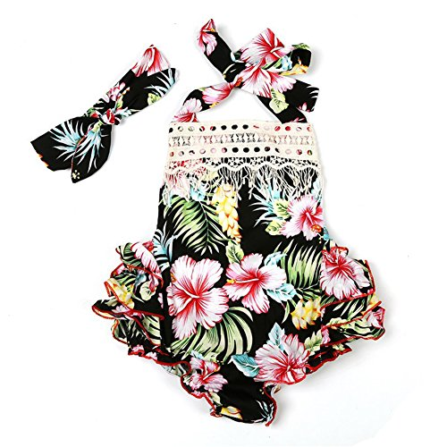 Mrs.BakerHome 3 Style Baby Girl Lace Tassel Dress Backless Halter Ruffled Romper With Headband (0-6 M, Black+Lace)