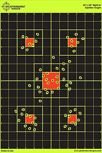 25 Pack - 12 x 18 inch Sight In - Splatterburst Shooting Targets - Gun - Rifle - Pistol - AirSoft - BB Gun - Pellet Gun - Air Rifle