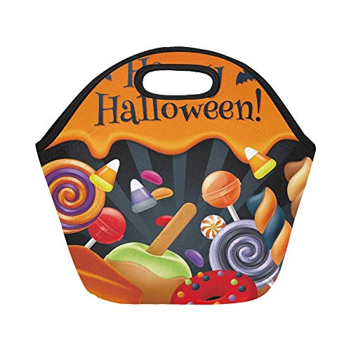 Insulated Neoprene Lunch Bag Halloween Sweets Colorful Party Lollipop Large Size Reusable Thermal Thick Lunch Tote Bags For Lunch Boxes For Outdoors,work, Office, School