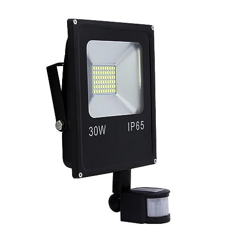 Hengda® 30W Blanco Frío Foco proyector Exterior LED detección de movimiento PIR sensor Resistente al