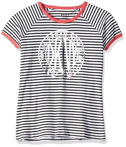 DKNY Girls' Short Sleeve Big Token Striped T-Shirt, Bright White, 7