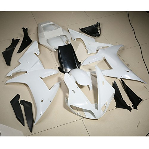 XFMT Motorcycle White Unpainted ABS Plastic Fairing Cowl Bodywork Set For YAMAHA YZF R1 YZF-R1 2002 2003
