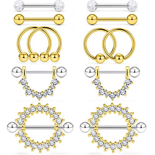 Kridzisw 14G Nipple Tongue Rings 6 Pairs Surgical Steel Nipple Nipplerings Shield Ring Barbell Bar Hoop Piercing Body Jewelry CZ Round Shape for Women Gold ()