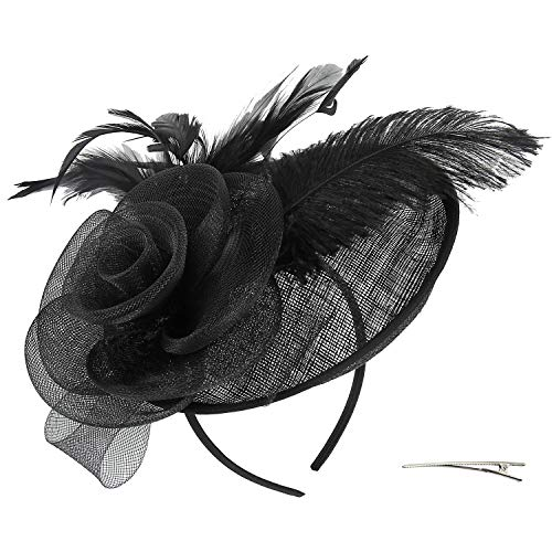 Acecharming Fascinators for Women, Feather Sinamay Fascinators with Headbands Tea Party Pillbox Hat Flower Derby Hats(Black-02) -