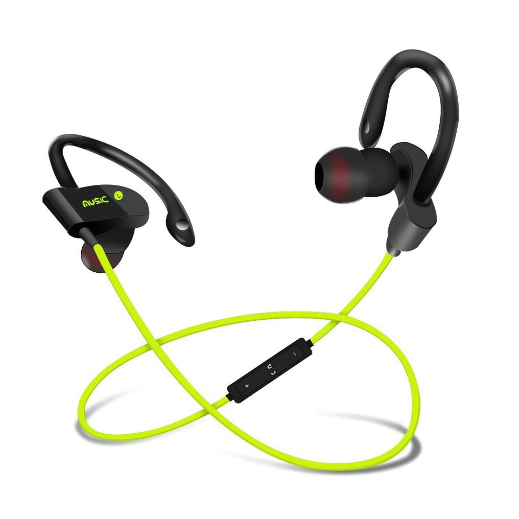ZIMINGU Sport Bluetooth Headphone Waterproof Wireless Earbuds Earphone Headset with Wire-Controlled Microphone for Running Exercising (Green)