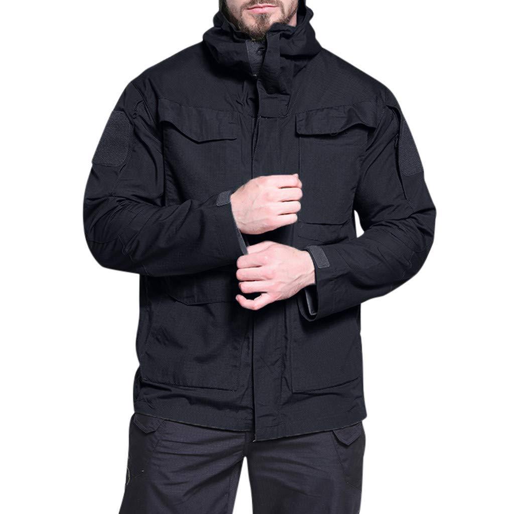 IEasⓄn Men Coat New Coming Windproof Warm Outdoor Sports Hooded Jacket Coat Online Store Black