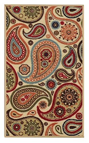 "Anti-Bacterial Rubber Back DOORMAT Non-Skid/Slip Rug 18""x31"" Ivory Floral Colorful Interior Entrance Decorative Low Profile Modern Indoor Front Inside Kitchen Thin Floor Runner DOOR MATS for Home"