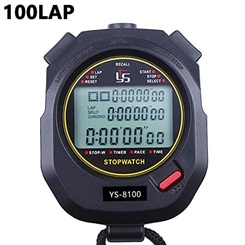 PULIVIA Stopwatch 100 Lap Split Memory Digital Stopwatch Countdown Timer 12/24 Hour Clock Alarm Calendar with Pace Mode 3 Rows Display Large Screen Water Resistant Battery Included for Sport Event