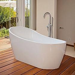 WoodBridge 67'' Modern Freestanding Bathtub with Brushed Nickel Overflow & Drain, B-0001