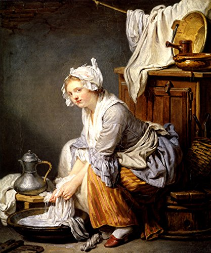 Jean Baptiste Greuze Paintings - THE LAUNDRESS MAID GIRL SEATED SQUEEZES WASHING BETWEEN HANDS 1761 FRENCH PAINTING BY JEAN BAPTISTE GREUZE ON CANVAS REPRO