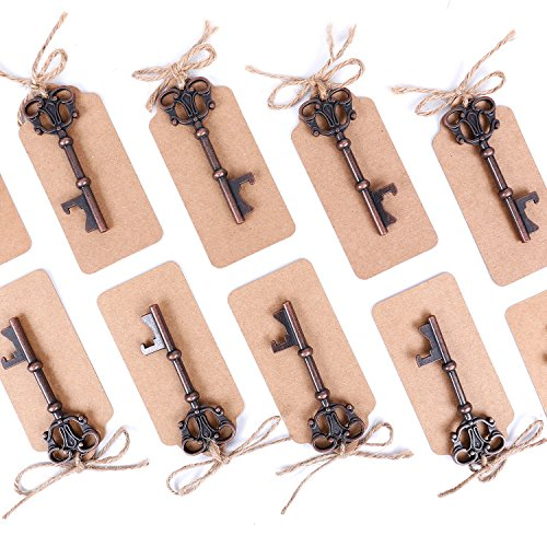 Wedding Favors Skeleton Key Bottle Opener with Escort Tag Card,Twine and Key Rings,Pack of 100 from Devis