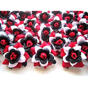 "(100) Silk Red Black White Roses Flower Head - 1.75"" - Artificial Flowers Heads Fabric Floral Supplies Wholesale Lot for Wedding Flowers Accessories Make Bridal Hair Clips Headbands Dress 3"