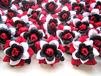 Amazon 100 silk red black white roses flower head 175 100 silk red black white roses flower head 175quot artificial flowers mightylinksfo Gallery