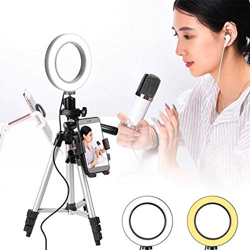 LAYOPO Selfie Ring Light,Dimmable Led Ring Light with Tripod Stand & Cell Phone Holder for Live Stream/Makeup/YouTube Video/Photography,Phone Clip Compatible with iPhone 8 7 6 Plus X 6s SE