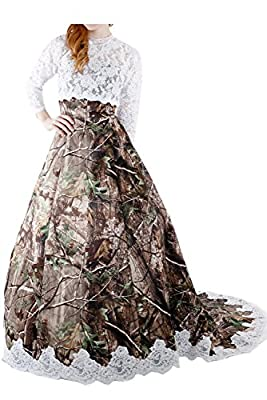 Sunvary Camouflage and Lace Long Sleeves Ball Gown Wedding Bridal Dress