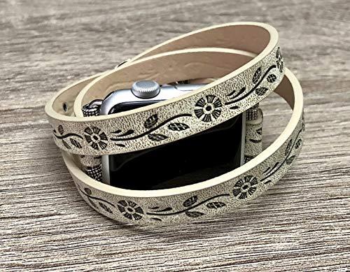 - Rustic Beige Vegan Leather Bracelet For Apple Watch All Series 38mm 42mm Handmade Multi Wrap Embossed Floral Design Apple Watch Band Buckle Clasp Adjustable Size Strap Apple Watch Bracelet