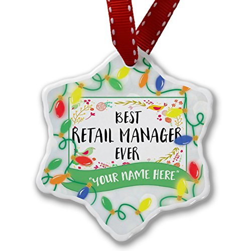 NEONBLOND Personalized Name Christmas Ornament, Happy Floral Border Retail Manager