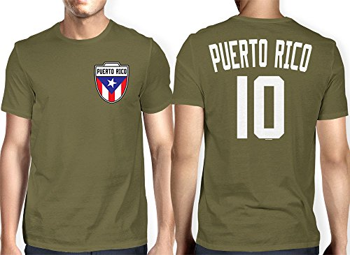 Mens Puerto Rico - Soccer, Football T-shirt (2XL, OLIVE GREEN)