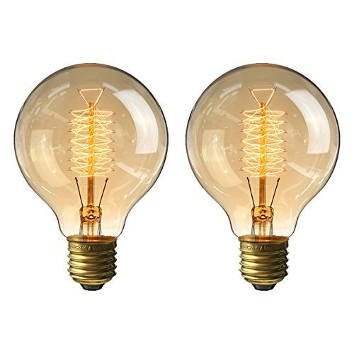 - KINGSO Vintage Edison Bulb 60W Incandescent Antique Dimmable Light Bulb Dimmable for Home Light Fixtures Squirrel Cage Filament E27 Base G80 110V (2 Pack)