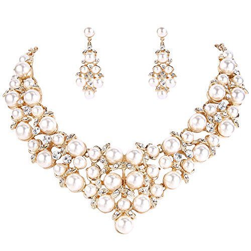 BriLove Wedding Bridal Simulated Pearl Necklace Earring Jewelry Set for Women Crystal Cluster Statement Necklace Dangle Earrings Set Clear Gold Toned