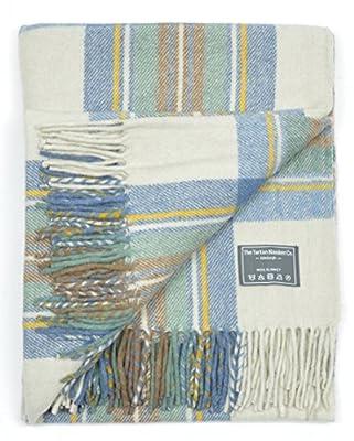 Classic Wool Blanket Rug Throw in Stewart Muted Blue Tartan