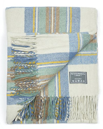 [Classic Wool Blanket Rug Throw in Stewart Muted Blue Tartan] (Wool Washable Blanket)