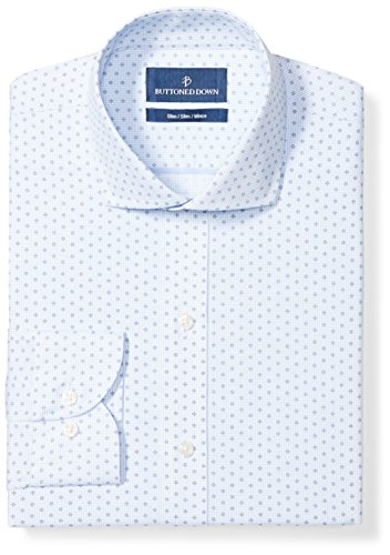 BUTTONED DOWN Men's Slim Fit Cutaway Collar Pattern, White/Blue Diamond Micro Check, 16