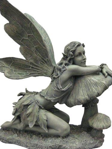 Napco 16-1/2-Inch Tall Green Fairy on Mushroom (Large Fairy Statue)