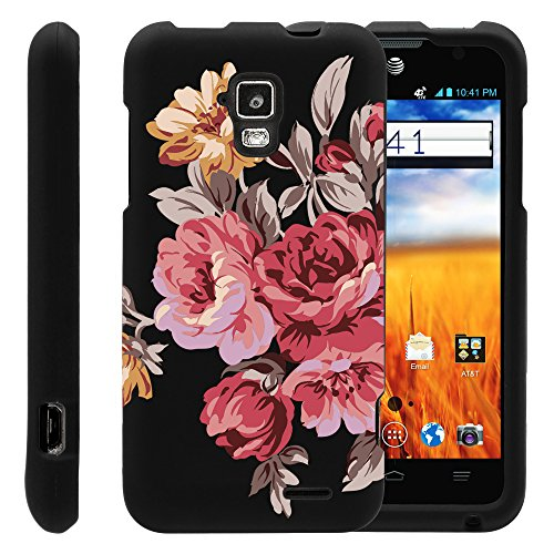 MINITURTLE, Slim Fit Graphic Design Image 2 Piece Snap On Protector Hard Phone Case Cover, Stylus Pen, and Clear Screen Protector Film for AT&T Prepaid GoPhone Android Smartphone ZTE Mustang Z998 (Autumn Flowers)