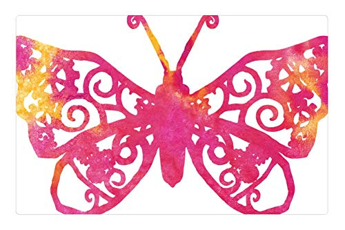 Tree26 Indoor Floor Rug/Mat (23.6 x 15.7 Inch) - Butterfly Pink Clipart Cute Flying Wings Nature