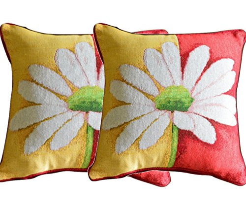 Tache Colorful Daisy Cushion Cover - Loves Me Not - Floral Spring Decorative Tapestry Cushion Throw Pillow Cover - Red, Yellow, Green,White - 2 Pieces
