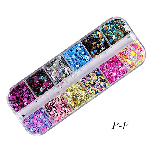 Kamas Nail Round Mixed Sequins Ultrathin Sequins Nail Art Glitter Mini Paillette Colorful 3D Nail Decorations Manicure Tools - (Color: P-F)