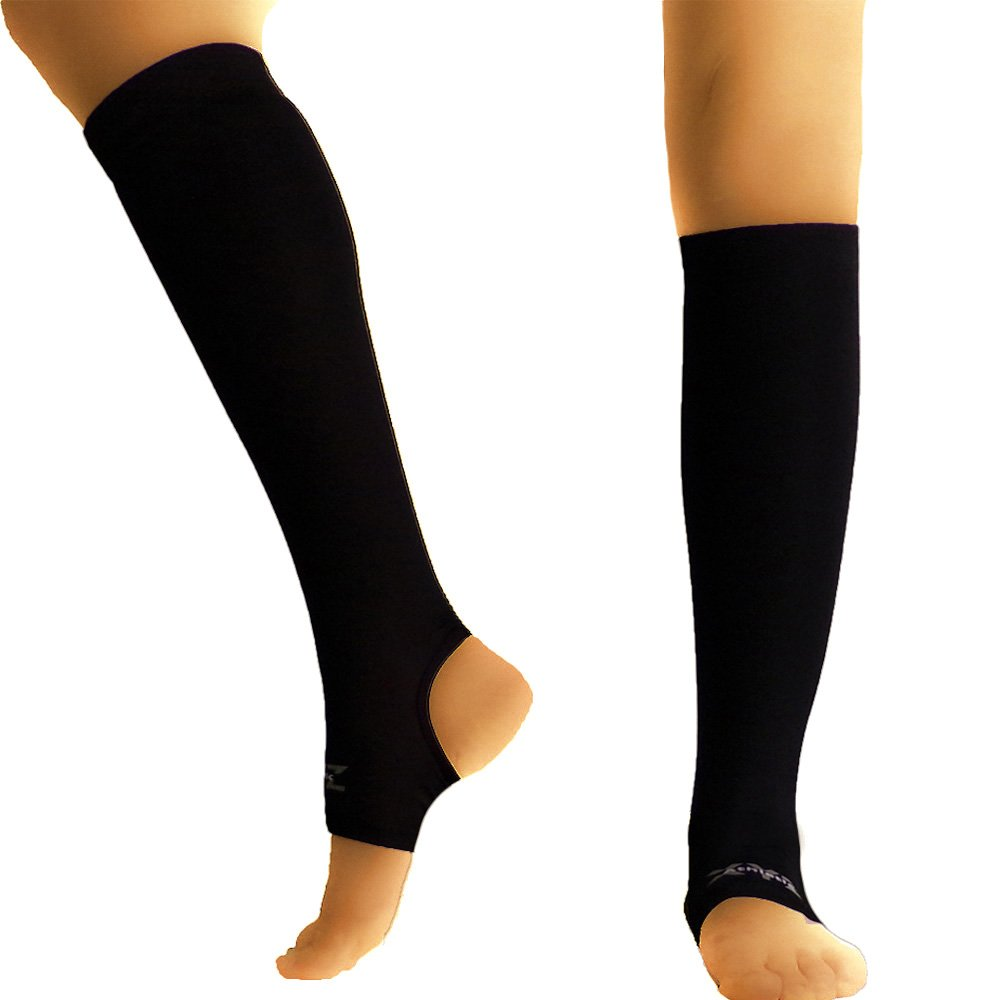 XYZ Athletic Copper Calf Compression Sleeve with Ankle Support (Pair)- Aids Leg Circulation, Muscle Recovery, Warm Up, Shin Splint Pain Relief (Large)