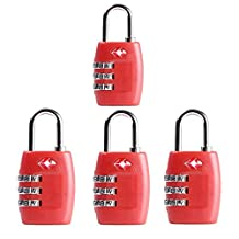 Newtion Tsa Lock 3 Digit Combination for Luggage Suitcase Security TSA Approved Padlock 1&2&4 pack (RED*4)