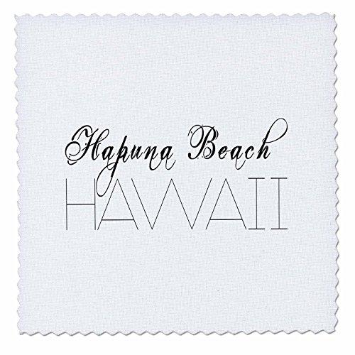 3dRose Alexis Design - American Beaches - American Beaches - Hapuna Beach, Hawaii, black on white - 20x20 inch quilt square (qs_276042_8) by 3dRose