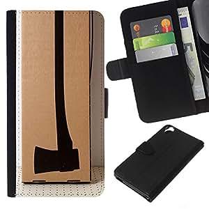 EJOY---La carpeta del tirón la caja de cuero de alta calidad de la PU Caso protector / HTC Desire 820 / --Diseño Hacha Deep Thought Significado
