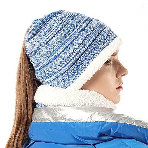 Women's Beanie Tail Ponytail Winter Warm Hat and Scarf Set Sky Blue Mix