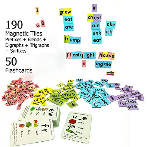 MFM TOYS Magnetic Phonic Word Builder Tiles (Understanding Pronunciation) Ages 6+ 170 Magnetic Tiles (Does Not Include Magnetic Board) (Magnetic Word Tiles)