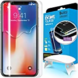 Dome Glass iPhone X Screen Protector Tempered Glass Shield, [Liquid Dispersion Tech] 2.5D Edge Screen Coverage, Easy Install Kit UV Light Whitestone Apple iPhone X (2017) / iPhone 10