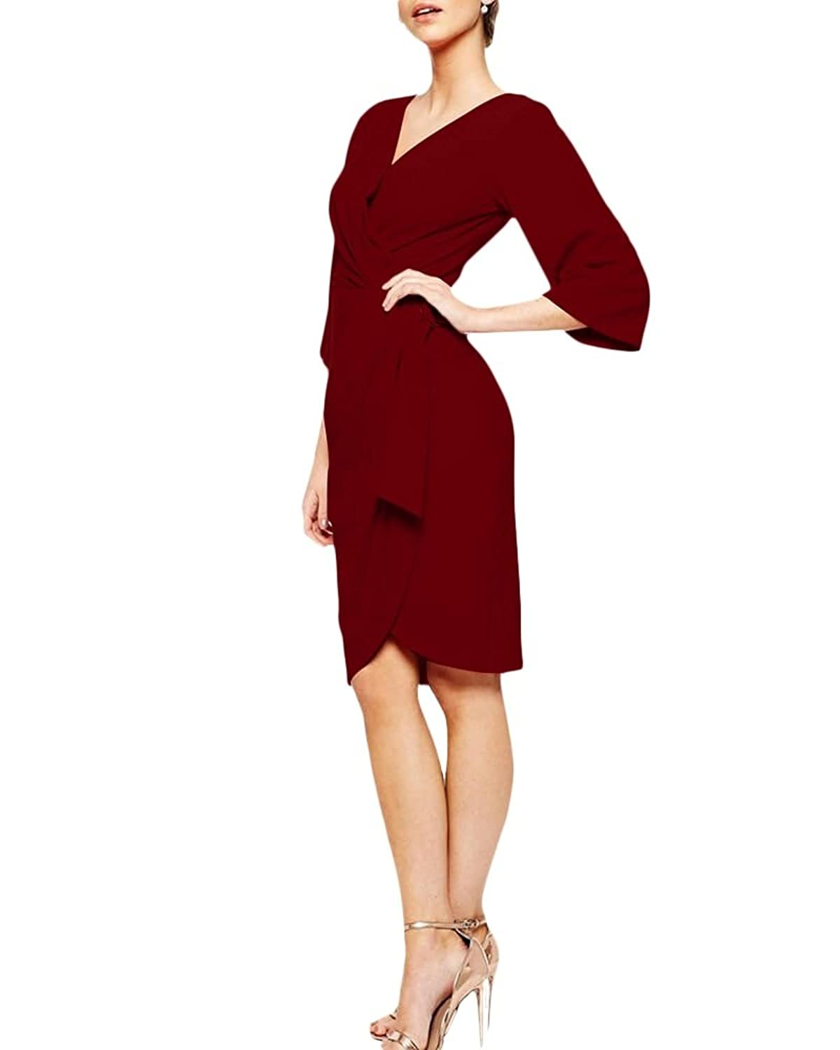 LoveURAPpearance Women's Rosy Midi Wrap Dress - Regular and Plus Size