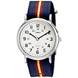 Timex Unisex T2P2349J Weekender Watch with Blue and Maroon Striped Nylon Band