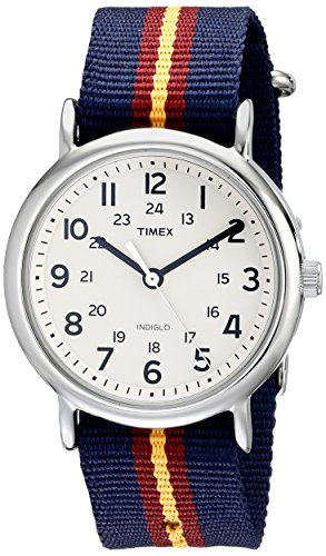 Timex Unisex T2P2349J Weekender Watch with Blue and Maroon Striped Nylon (Timex Watch Nylon Band)
