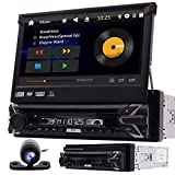 Single 1 Din Car DVD Player In Dash GPS Navigation Car Stereo AM FM Radio Receiver Support Detachable Bluetooth USB/SD Audio/Video output SWC with Free Wireles Remote and Backup Camera Map Card