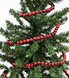 Vintage Style Wooden Cranberry Bead Garland Christmas Tree Holiday Decoration, 9 Feet