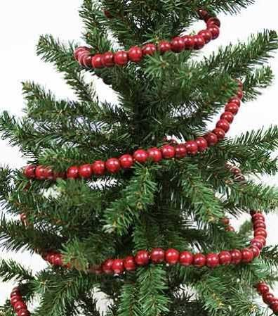 vintage style wooden cranberry bead garland christmas tree holiday decoration 9 feet