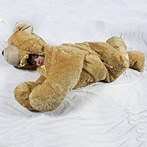 For children up to 54 inches tall.  Giant SnooZzoo Brown Bear Children's sleeping bag stands 60 inches tall. - 513sLPmtmbL - For children up to 54 inches tall. The original SnooZzoo Brown Bear children's stuffed animal sleeping bag.
