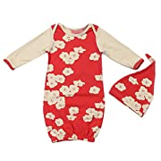 EGELEXY Newborn Baby Girls Sleepy Eyes+Rosy Cheeks Gown Hat Sleepwear Sleeping Bags Size 0-3 Months (Floral)