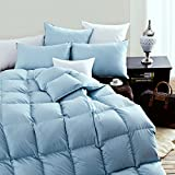 High Quality Goose Down comforter - King Size,100% Cotton Cover Soft Touch -Hypoallergenic-Medium warmth - 65 oz fill -Blue Solid (King:106x90 inches)