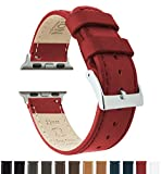 Barton Leather Watch Bands for Apple Watch - Choice of Color in 42mm & 38mm - Crimson Red 38mm